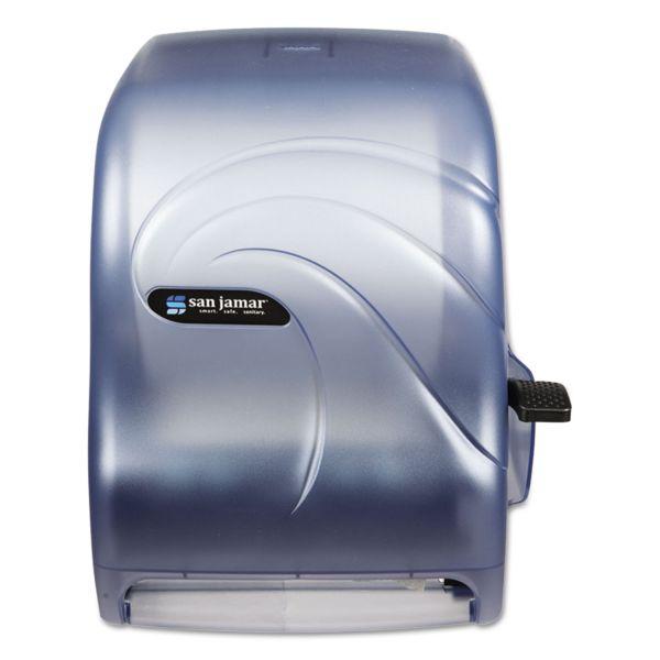 San Jamar Lever Roll Towel Dispenser, Oceans, Arctic Blue, 16 3/4 x 10 x 12