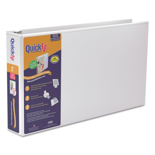 """Stride QuickFit Ledger 3-Ring View Binder, 2"""" Capacity, D-Ring, White"""