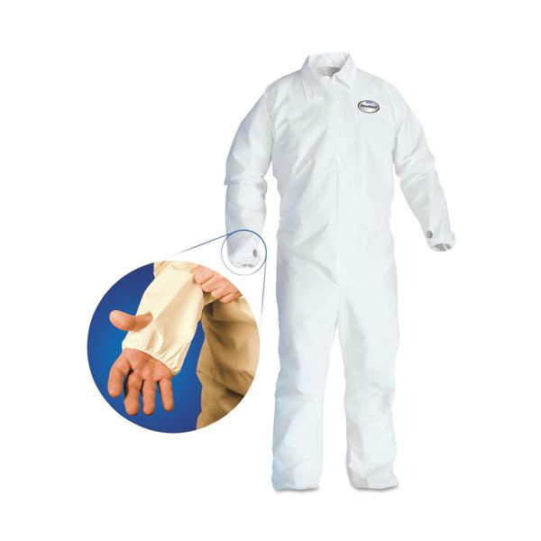 KleenGuard* A40 Breathable Back Coverall with Thumb Hole, White/Blue, X-Large, 25/Carton