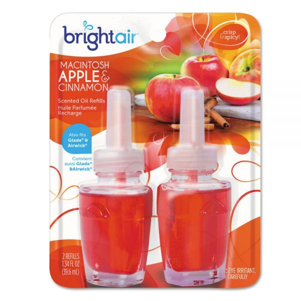 BRIGHT Air Electric Scented Oil Air Freshener Refill, Macintosh Apple and Cinnamon, 2/Pack