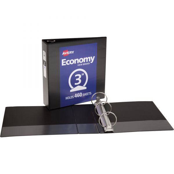 """Avery Economy 3-Ring View Binder, 3"""" Capacity, Round Ring, Black"""