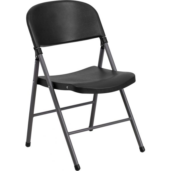 Flash Furniture HERCULES Series 330 lb. Capacity Black Plastic Folding Chair with Charcoal Frame [DAD-YCD-50-GG]