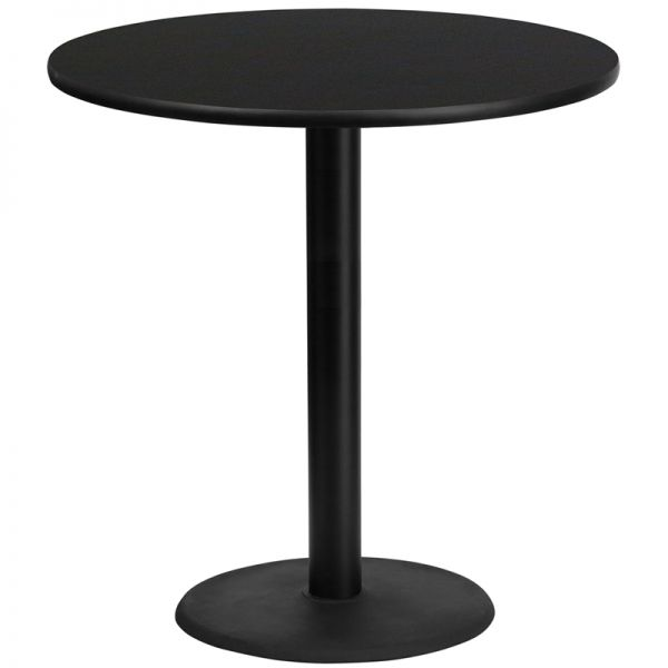 Flash Furniture 42'' Round Black Laminate Table Top with 24'' Round Bar Height Table Base
