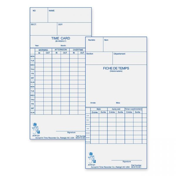 Acroprint Double-Sided Weekly/Bi-Weekly Time Cards
