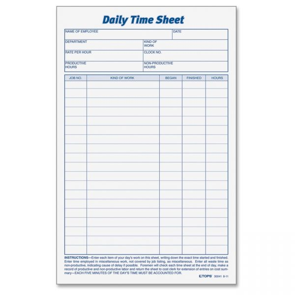 TOPS Daily Time Sheet Forms