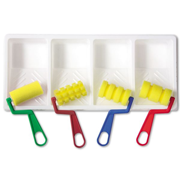 Creativity Street Foam Patterned Rollers with Paint Trays