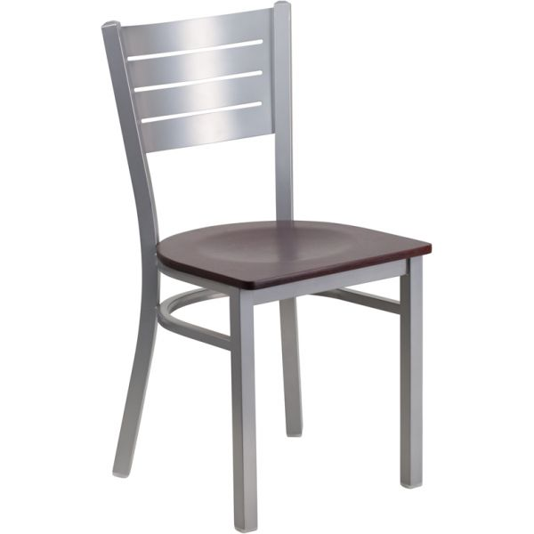 Flash Furniture Silver Slat Back Metal Restaurant Chair [XU-DG-60401-MAHW-GG]