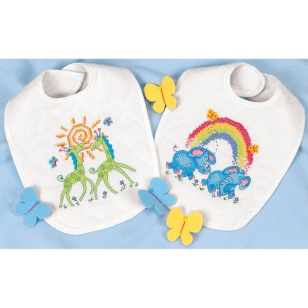 Dimensions Baby Hugs Noah's Ark Bibs Stamped Cross Stitch Kit