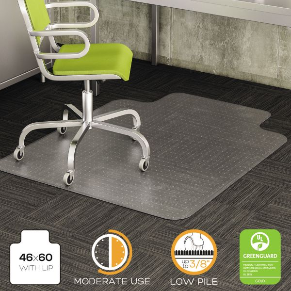 deflecto DuraMat Moderate Use Chair Mat for Low Pile Carpet, 46 x 60, Wide Lipped, Clear