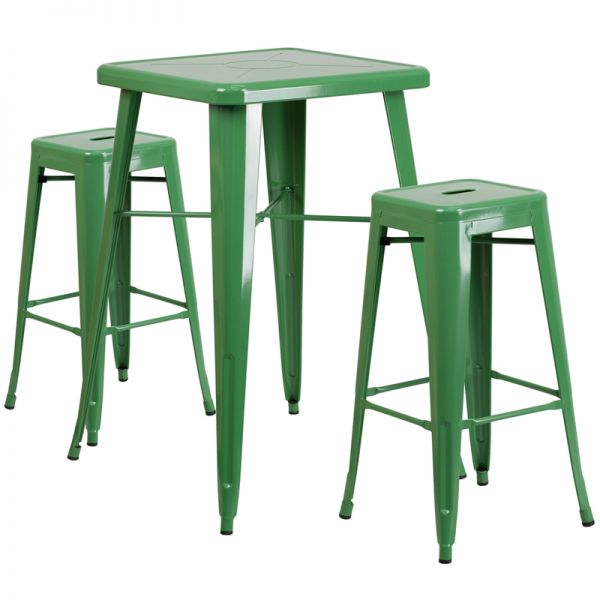 Flash Furniture 23.75'' Square Green Metal Indoor-Outdoor Bar Table Set with 2 Square Seat Backless Barstools