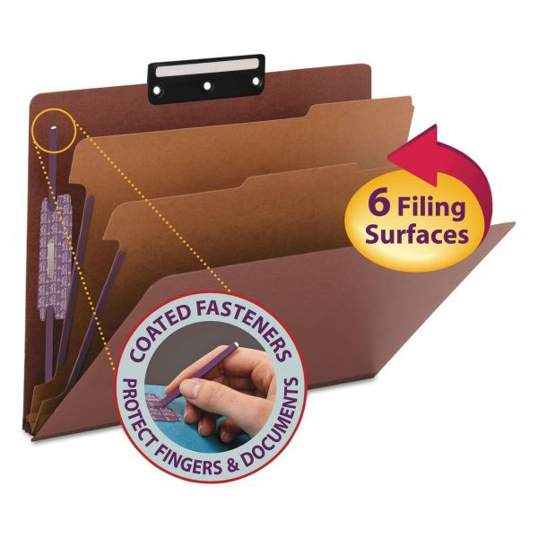 Smead SafeSHIELD 2-Divider Pressboard Classification Folders with Metal Tab