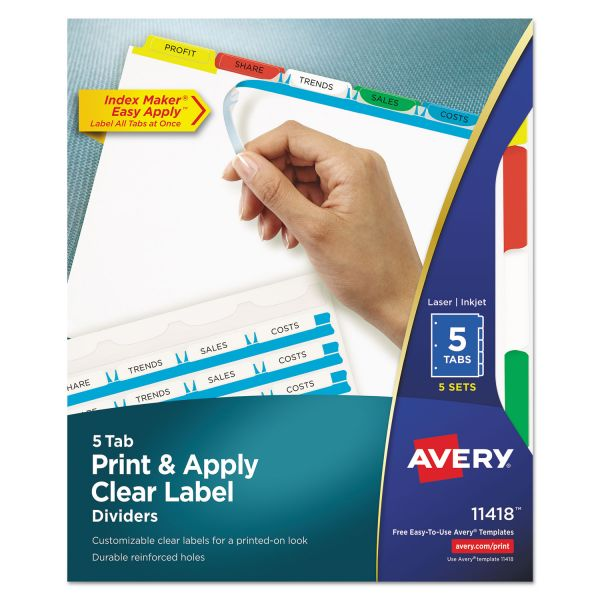 Avery Print & Apply Clear Label Dividers, 5-Tab, Multi-color Tab, Letter, 5 Sets