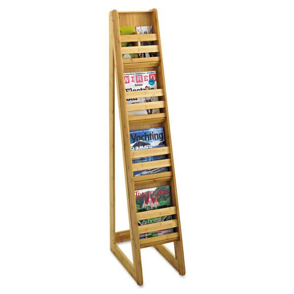 Safco Bamboo Magazine/Pamphlet Floor Display, 10w x 18-1/4d x 56-1/2h, Natural