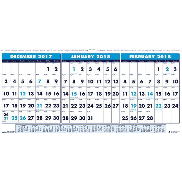 House of Doolittle 3-Month Horizontal Wall Calendar