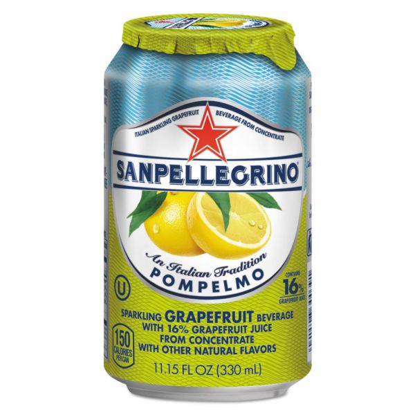 San Pellegrino Sparkling Fruit Beverages, Pompelmo (Grapefruit), 11.15 oz Can, 12/Carton
