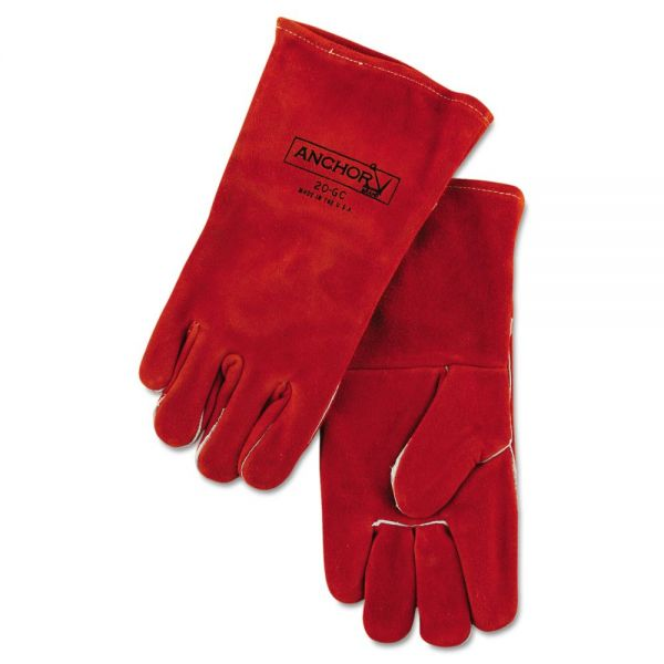 Anchor Brand 20GC Welding Gloves, Split Cowhide, 4in Cuff, Large