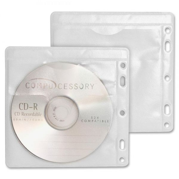 Compucessory Double-Pocket Punched CD/DVD Sleeves