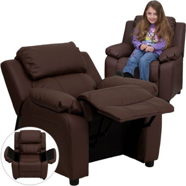Flash Furniture Deluxe Heavily Padded Contemporary Brown Leather Kids Recliner with Storage Arms [BT-7985-KID-BRN-LEA-GG]