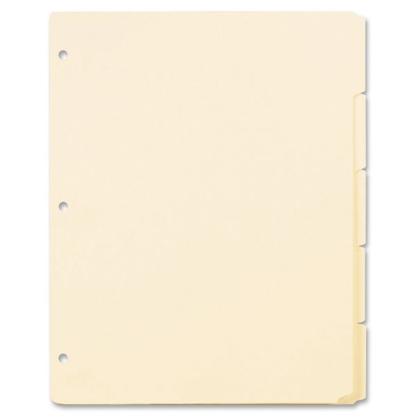 Oxford Three-Hole Punched Index for Binder, 5-Tab, Manila Tab, Letter, 20 Sets