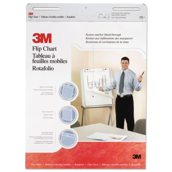 3M 3M Flip Chart Pads, 25 in x 30 in, White