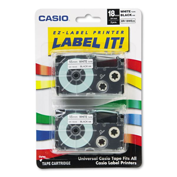 Casio Tape Cassettes for KL Label Makers, 18mm x 26ft, Black on White, 2/Pack
