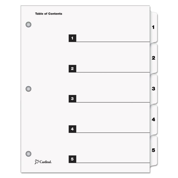 Cardinal QuickStep Index 5-Tab Numbered Dividers With Table Of Contents Page