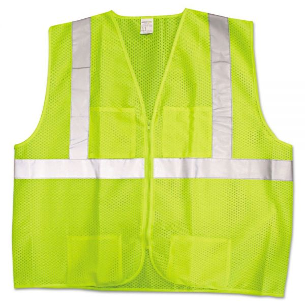 Jackson Safety* ANSI Class 2 Deluxe Style Vests, Lime/Silver, X-Large/2X-Large