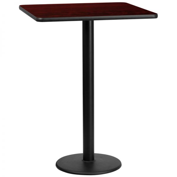 Flash Furniture 30'' Square Mahogany Laminate Table Top with 18'' Round Bar Height Table Base