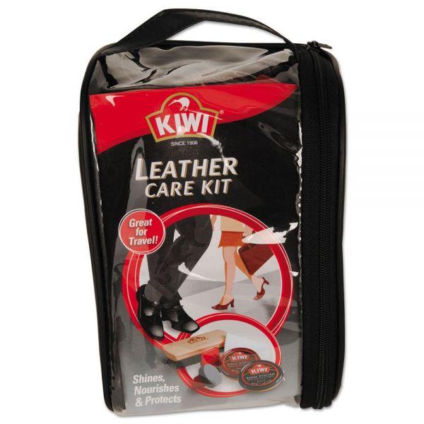 KIWI Leather Care Travel Kit, Black/Brown, 6/Carton