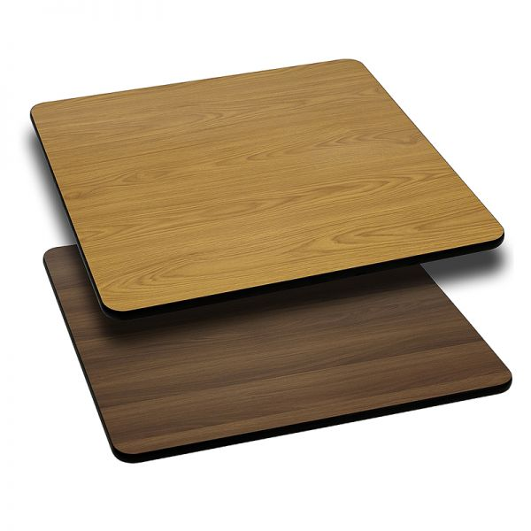 Flash Furniture 30'' Square Table Top with Natural or Walnut Reversible Laminate Top