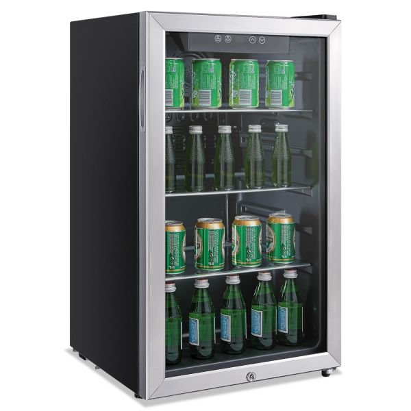 Alera 3.4 Cu. Ft. Beverage Cooler, Stainless Steel/Black