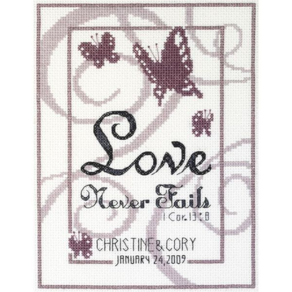 Love Never Fails Counted Cross Stitch Kit