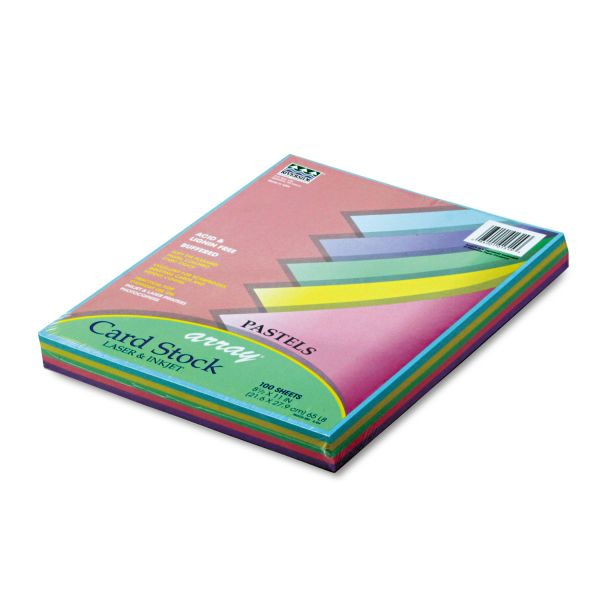 Pacon Array Card Stock, 65 lb., Letter, Assorted Pastel Colors, 100 Sheets/Pack