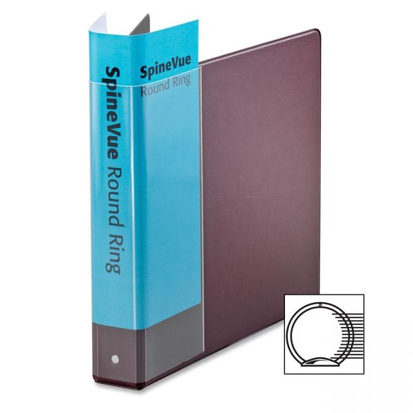"Cardinal Spine Vue Locking Round Ring Binder, 1 1/2"" Cap, 11 x 8 1/2, Maroon"