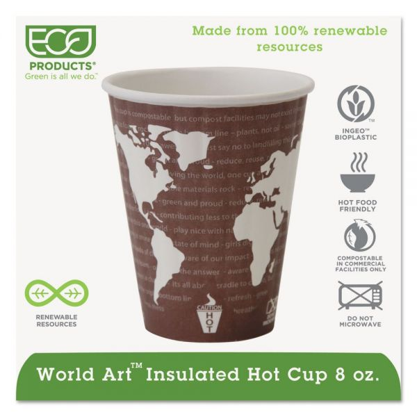 Eco-Products World Art Renewable & Compostable Insulated Hot Cups -8oz., 40/PK, 20 PK/CT