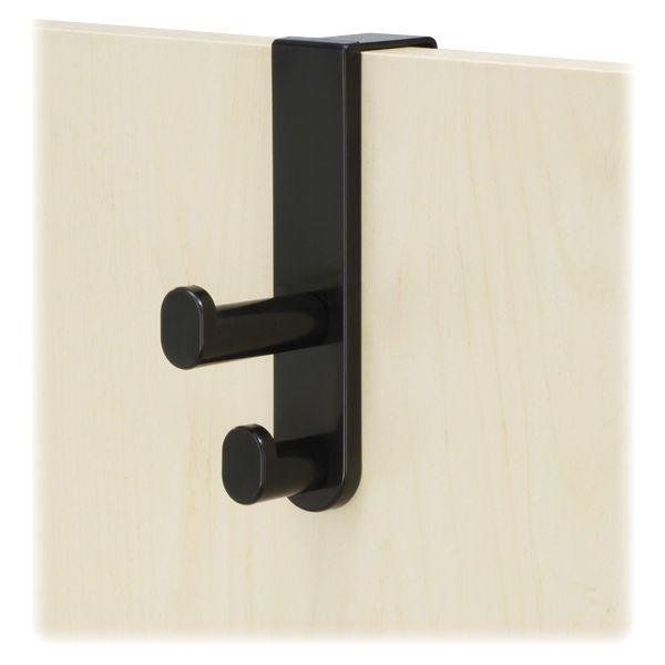 Safco Plastic Coat Hook, 2-Hook, 1 3/4 x 5 1/4  x 7 3/4, Black
