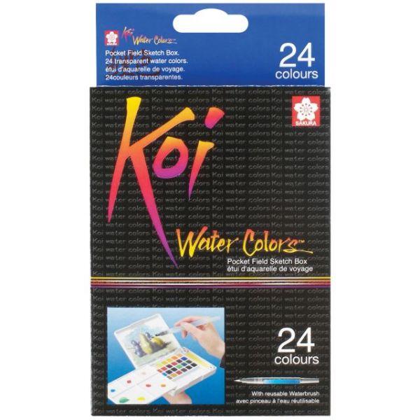 Koi Watercolor Pocket Field Sketch Box - 24 Colors
