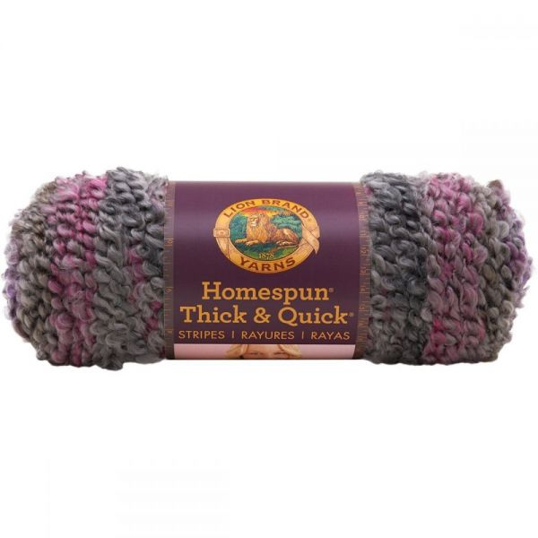 Lion Brand Homespun Thick & Quick Yarn - Greystone Stripes