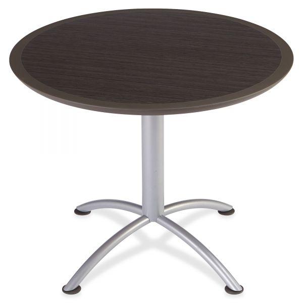 Iceberg iLand Table, Dura Edge, Round Seated Style, 36 dia x 29h, Gray Walnut/Silver
