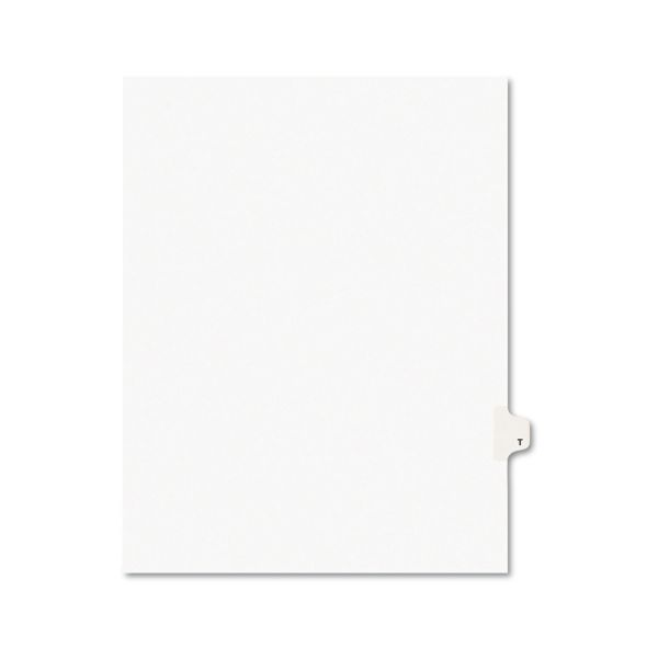 Avery Avery-Style Legal Exhibit Side Tab Dividers, 1-Tab, Title T, Ltr, White, 25/PK