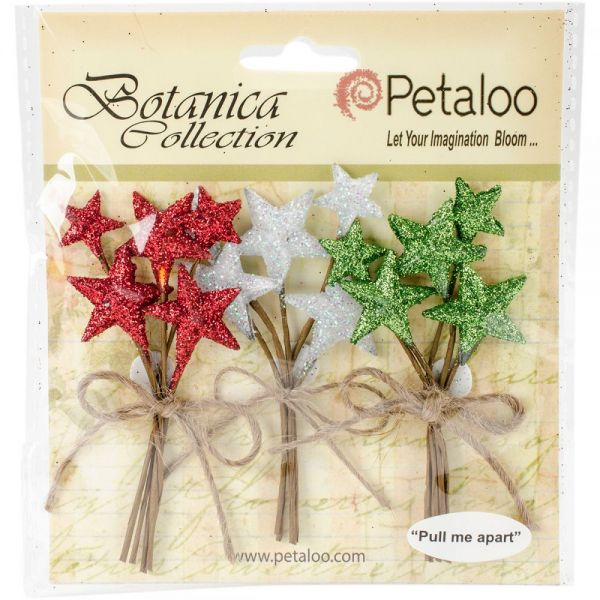 Botanica Glittered Star Picks 3/Pkg