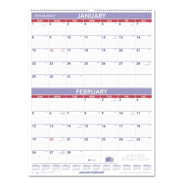AT-A-GLANCE Two-Month Wall Calendar, 22 x 29, 2018