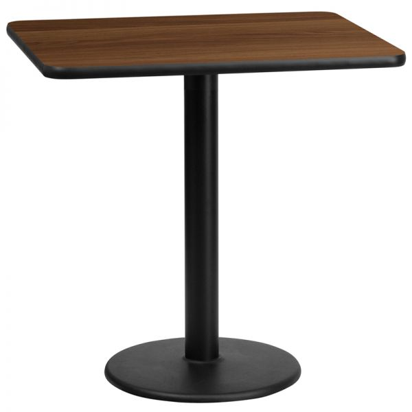 Flash Furniture 24'' x 30'' Rectangular Walnut Laminate Table Top with 18'' Round Table Height Base