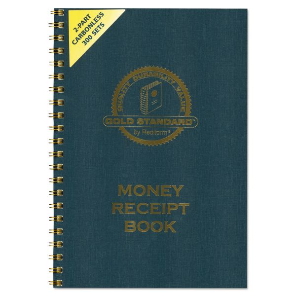 Rediform Money Receipt Book, 7 x 2 3/4, Carbonless Duplicate, Twin Wire, 300 Sets/Book