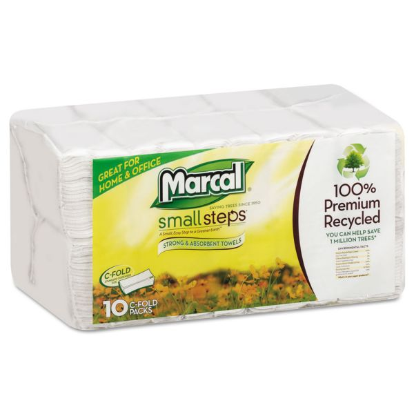 Marcal Small Steps 100% Recycled Premium C-Fold Paper Towels, 10 x 12 1/4, 1-Ply, White, 150 Sheets/Pack, 10 Packs/Carton