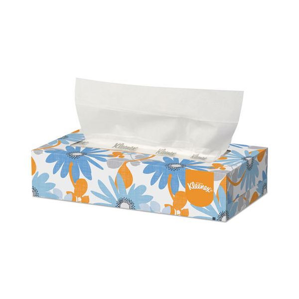 Kleenex White Facial Tissue, 2-Ply, White, Pop-Up Box, 125/Box