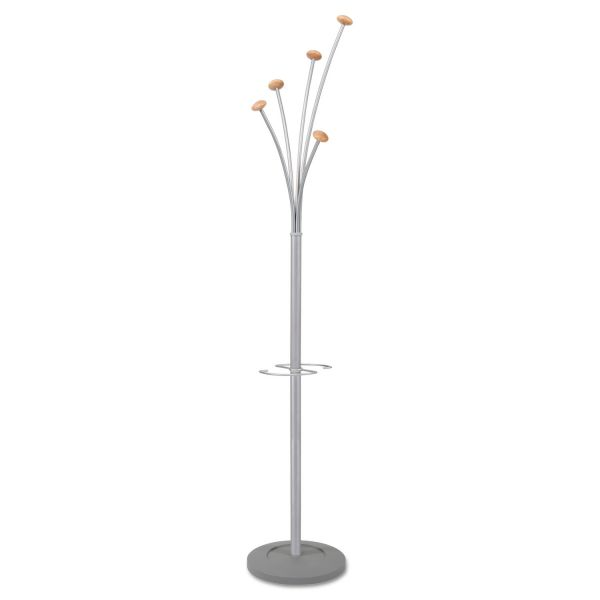 Alba Festival Coat Stand with Umbrella Holder, Five Knobs, Silver Gray Steel/Wood