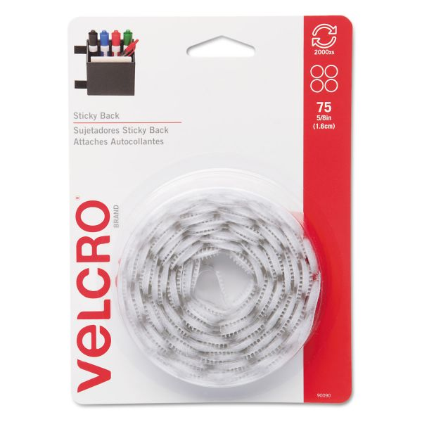 "Velcro Sticky-Back Hook & Loop Dot Fasteners, 5/8"", White, 75/Pack"