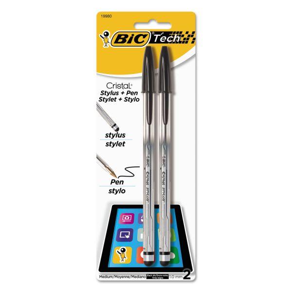 BIC Cristal 2-in-1 Stylus Ballpoint Pen, Black Ink, 1.0mm, Medium