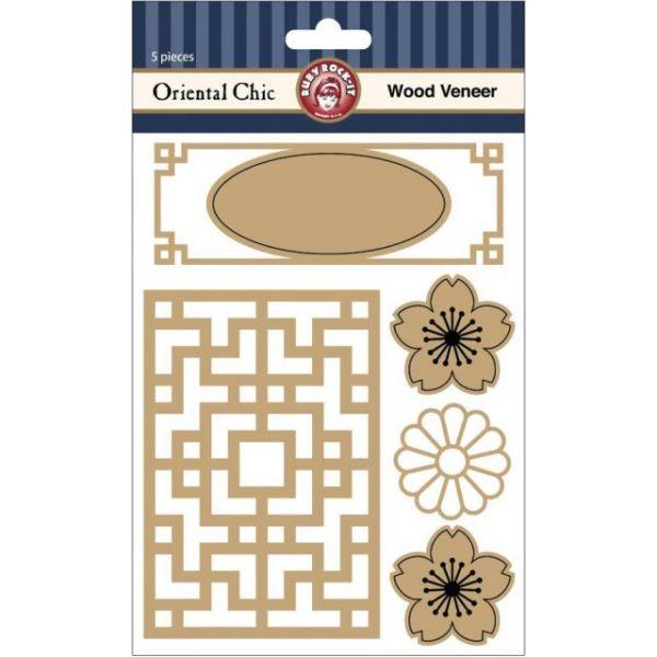 Oriental Chic Laser Cut Wood Veneer Shapes 5/Pkg